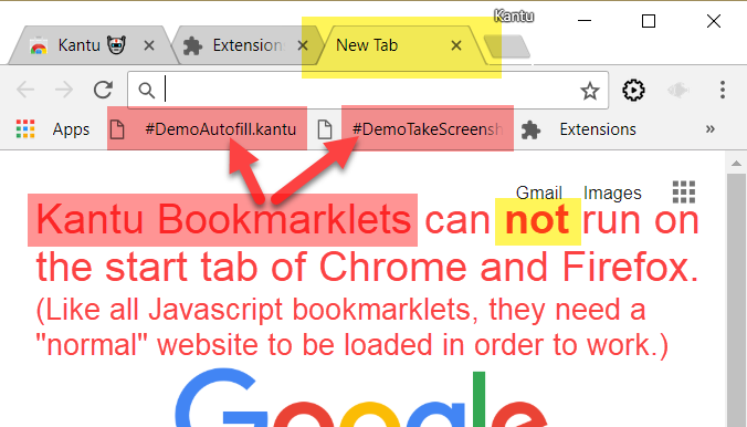 Bookmarklets need a normal web page loaded to work (= do not work on new tab page)
