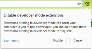 Chrome warning for manually installed extensions from file