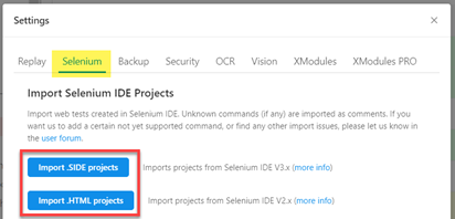 Import test cases from the Selenium IDE 3 (.SIDE format) and the old Selenium IDE 2.9.1