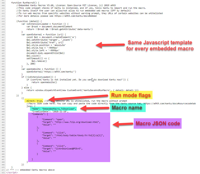 Demo Embed Kantu Macros into a website