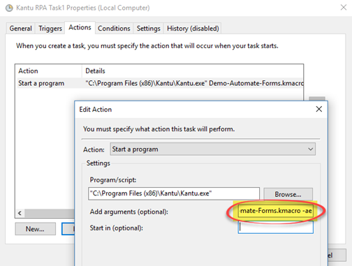 Windows Task Scheduler: What to run (Action Settings)