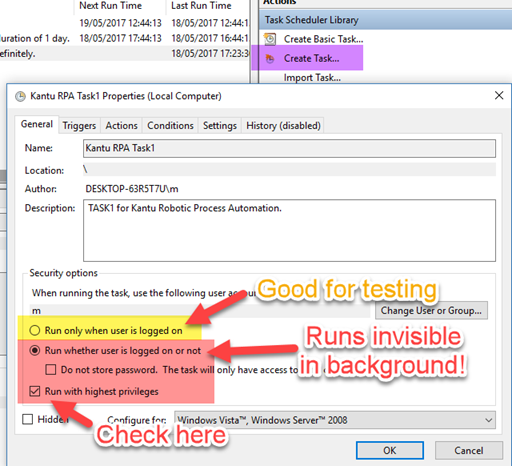 Windows Task Scheduler: Run Options (Security Settings)