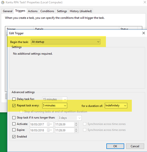 Windows Task Scheduler: Run when (Trigger Settings)